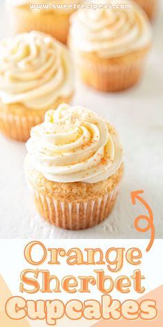 Light and fluffy white cupcakes with a hint of orange sherbet frosted with an Orange Sherbet Swiss Meringue Buttercream to give you a fun summer treat. Orange Cupcakes, Orange Frosting, Best Dessert Recipes, Unique Cupcake Recipes, Cupcake Ideas, Summer Desserts, Easy Desserts, Cupcake Cakes, Baby Cakes