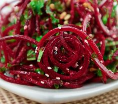 Sesame Beet Salad with Chia Dressing-amazing combo. Those beets are bathed in a .Sesame Beet Salad with Chia Dressing-amazing combo. Those beets are bathed in a sesame, ginger and chia seed dressing, along with a few splashes of homemade haban Raw Food Recipes, Salad Recipes, Vegetarian Recipes, Cooking Recipes, Healthy Recipes, Frugal Recipes, Locarb Recipes, Atkins Recipes, Parmesan Recipes