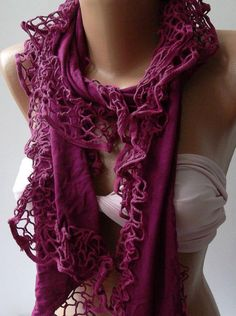 Fuchsia - Elegance Shawl / Scarf with Lace Edge...