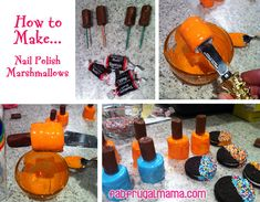 Fab Frugal Mama: How to Make Fancy Nail Polish Marshmallow Treats - dip marshmallows in colored frosting and put a tootsie roll on top.  So cute and so easy!
