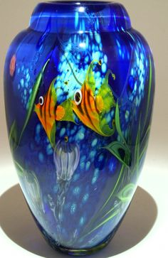 Art Glass Vase from Kela's...a glass gallery on Kauai.  Tropical Ocean Vase