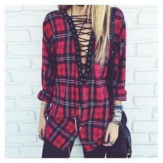 Lace up vintage flannel shirt ❤ liked on Polyvore featuring tops, lace up front shirt, purple shirt, vintage flannel shirt, vintage tops and long tops