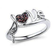liefde en belangrijke vorm sterling zilver gezet met de granaat zirconia vrouwen mode-ring 4534109 2016 – €30.37