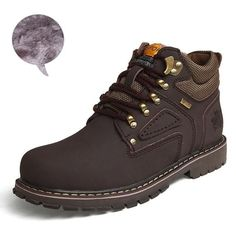 Men Ankle Boots Genuine Leather Work Safety Boots Winter Shoes Rubber Boots Men Work Shoes