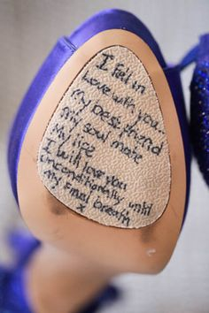 Sentimental wedding ideas: Write a hidden message to your groom on your shoe.