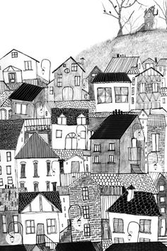 Anuska Allepuz: Inspiration for drawing imaginary towns Building Illustration, House Illustration, Graphic Illustration, House Quilts, House Drawing, Urban Sketching, Doodle Art, Home Art, Painting & Drawing