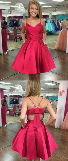 Cute Homecoming Dress,Red Homecoming Dress,V-Neck A-Line Homecoming Dress,Short Prom Dress with Bow