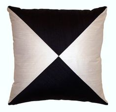 Silk Black and White Decorative Throw Pillow cover 16 x by LenkArt, $32.00