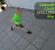 Spelling 2: Spelling Hop Word Practice. This game can be played outdoors using    sidewalk chalk or the large foam letters for an indoor letter rug can be used.  Students take turns spelling words by hopping to the correct letters.  This would work for early elementary and would be great for getting students up and moving either outside or inside.  It reinforces spelling words for hands-on (feet-on) learners or kinesthetic learners.