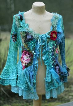 Blue elf- extravagant  reworked cardi, wearable art, hand embroidered and beaded details,