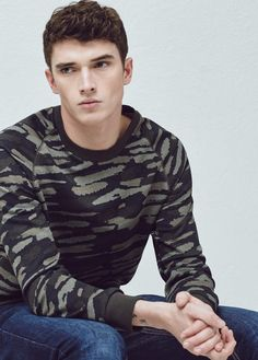 Sweat-shirt imprimé camouflage | MANGO MAN