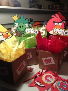 These Angry Birds centerpieces were inspired by a post from Angie's Creations. A High School school-mate needed 13 (yes, 13!) centerpieces but didn't have the time for processing and sh…