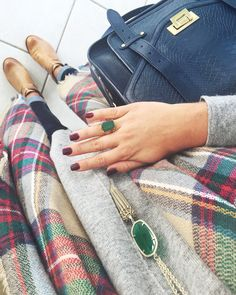 gray shirt, plaid scarf, jeans, brown booties