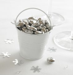 Silver sugared almonds in a white pail? These would be awesome for a winter wedding. Diy Wedding Favors, Personalized Wedding Gifts, Wedding Ideas, Vintage Tea Parties, Winter Wedding Inspiration, Tea Party, Design, Almonds, British