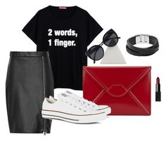 """""""untitled#7"""" by aloha-tsyglina on Polyvore featuring Lulu Guinness, Reiss, Converse, FOSSIL, Quay and NARS Cosmetics"""