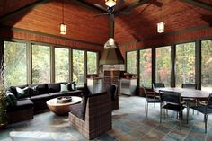 Screened Porch Tile Floors Design Ideas, Pictures, Remodel and Decor Family Room Addition, Four Seasons Room, Three Season Porch, Three Season Room, Traditional Porch, French Country House Plans, Indoor Grill, Loft, Outdoor Rooms