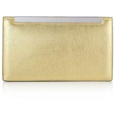 Saint Laurent Lutetia Metallic Clutch ($1,130) ❤ liked on Polyvore