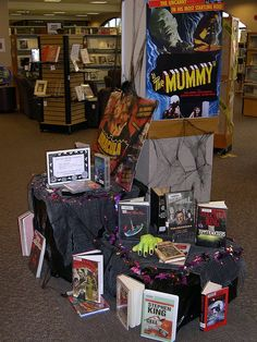 Bateman Library Halloween book display- movie posters do a nice job of drawing attention to the books!