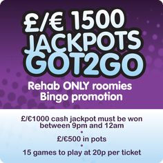 •.★.• LIKE AND SHARE •.★.• JACKPOTS GOT TO GO •.★.• We're back again to give away another €1,000 JACKPOT Tonight. Join us in Bridget's 90B Room from 9pm and you could be walking away with €1,000 ! Ball count goes up by one every JP game until it is won  ~*~*~*~*~*~*~*~*~*~*~ Could YOU be our next Jackpot Winner? Register today at www.rehabbingo.com and claim your Welcome Bonus ALSO Jackpot Winners, Bingo Games, Games To Play, Count, Walking, Walks