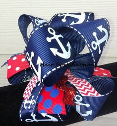 Anchors Stacked  Bow  Funky Hair Bow 4th of by HairBowAuctions, $10.00