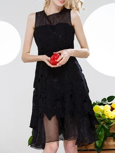 Buy it now. Black Crochet Hollow Out Organza Dress. Black Round Neck Sleeveless Polyester A Line Short Fabric has no stretch Summer Casual Day Dresses. , vestidoinformal, casual, camiseta, playeros, informales, túnica, estilocamiseta, camisola, vestidodealgodón, vestidosdealgodón, verano, informal, playa, playero, capa, capas, vestidobabydoll, camisole, túnica, shift, pleat, pleated, drape, t-shape, daisy, foldedshoulder, summer, loosefit, tunictop, swing, day, offtheshoulder, smock, prin...
