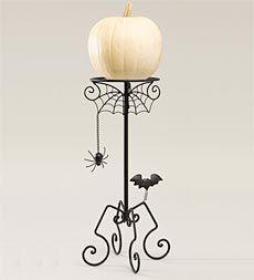 Black Metal Halloween Pumpkin Display Stand With Hanging Spider