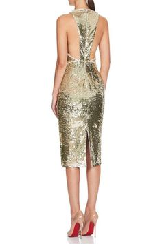 A glistening gold sequin midi dress featuring a classic neckline and racer back. - Designed in Australia - Exposed Metal Zipper - Fully Lined - Piping trim along armhole and neckline - CB Body length Sequin Midi Dress, New Dress, Sequins, Formal Dresses, Cotton, Shopping, Collection, Wedding, Style