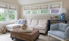 LOVE these windows up high so the couch doesn't block them. .....Rhode Island Beach Cottage with Coastal Interiors