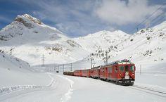 鉄道, ベルニナ鉄道, Lagalb, ベルニナ, 冬, 電車, 電気機関車, 機関車, 雪, 登山鉄道