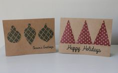 Christmas Cards - Seasons Greetings  - Happy Holidays - Handmade Christmas Card - Simple Cards - Set of 8. $22.00, via Etsy.