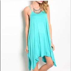 {boutique} Asymmetrical Trapeze Dress Brand new!  Size: small. LAST ONE AVAIL!  Color: Jade 💋Great dress for summer💋      🚫No trades. ✅Offers only thru offer button plz. Boutique Dresses Asymmetrical