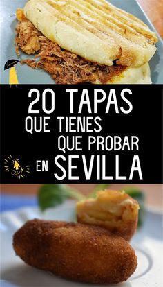 """En tu visita a Sevilla tienes que irte de """"tapitas"""". La gastronomía en esta ciudad es bastante rica. Recomendamos no pedir menú, aquí se come de tapas. Son pequeños platos elaborados, de cocina natural, muy ricos, límpios y económicos. Te proponemos algunas de las que no debes perderte. Cocina Natural, Tapas, Hamburger, Sandwiches, Yummy Food, Bread, Foods, Recipes, Gastronomia"""