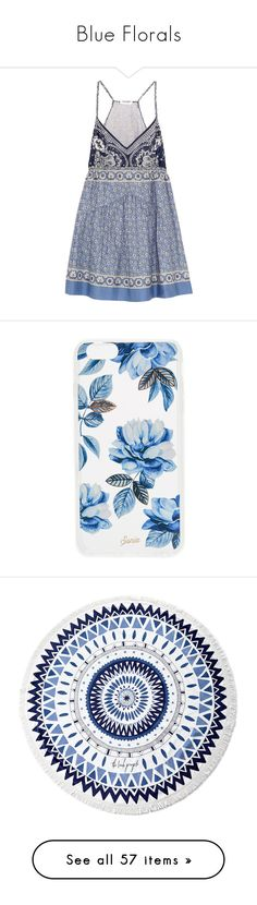 """Blue Florals"" by siurelys-1 ❤ liked on Polyvore featuring dresses, vestidos, robe, tops, short dresses, blue, multi color mini dress, multi color dress, a line mini dress and tie waist dress"