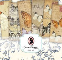 BOOKMARK Digital collage sheet BUTTERFLIES digital by cameoshoppe, $4.30