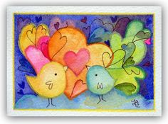 Heartoons  Original ACEO painting watercolor by fromsmallthings, $22.00