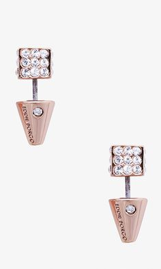 The traditional stud gets a refresh with a polished finish, cubed shape and hand-cut pave crystal stones to catch the light