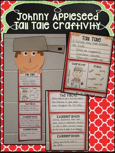 Johnny Appleseed Craftivity - Teaching the elements of a tall tale! Tall Tales Activities, Apple Activities, Social Studies Activities, 2nd Grade Ela, 4th Grade Reading, Second Grade, Comprehension Activities, Reading Strategies, Reading Genres