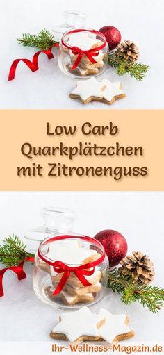 Low-Carb-Weihnachtsgebäck-Rezept für Quarkplätzchen mit Zitronenguss: Kohlenhydratarme, kalorienreduzierte Weihnachtskekse - ohne Getreidemehl und Zucker gebacken ... #lowcarb #backen #weihnachten