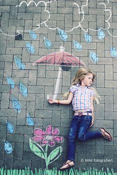 rainy girl photo creative chalk