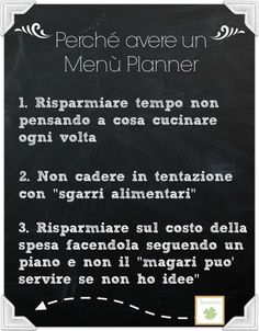 Reasons to write a menu planner - Vantaggi di un menù planner