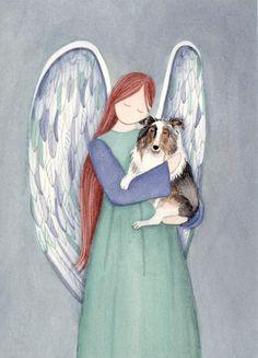 Blue merle shetland sheepdog (sheltie) with angel / Lynch signed folk art print by watercolorqueen on Etsy