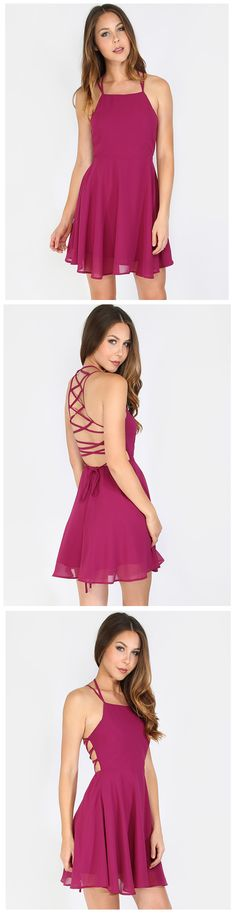 """Keep things interesting in the Multi-Tie Skater Dress! Features a square neck, multi-tie back, and back zipper. Dress measures 31"""" in. approx. Top off the look with delicate jewelry for an enchanting ensemble!"""