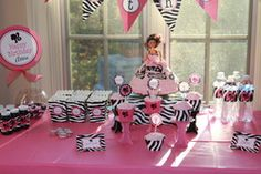 Hot Pink Barbie and Zebra Print Birthday Party  Birthday - Vintage Barbie Silhouette Birthday party