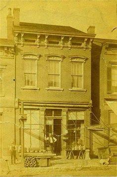 The tin shop of Rudolph Schneider, Sr.,   c. 1880, 627 Monmouth