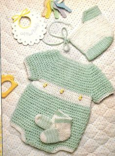 "Easy Crochet Pattern Baby Boy's  ""Just Ducky"" Sunsuit  Romper, Bonnet sz Newborn-12 months"