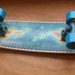 Map of the world longboard made by Henk de Bruin Icecold.cool and Martijn Janssen of SuperKik