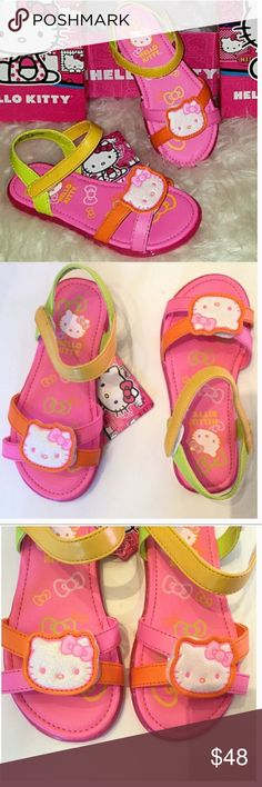 New HELLO KITTY 13 Sandals Pink Yellow Velcro Shoe Brand NEW,in box, HELLO KITTY 13 Sandals. Pink, orange, lime green and Yellow with Velcro. Lovely and adorable shoes! Hello Kitty Shoes Sandals & Flip Flops