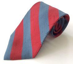 Paco Rabanne Paris Neck Tie Red Blue Striped 100% Silk #PacoRabanne #NeckTie