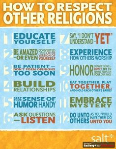 How To Respect Other Religions: it doesn't always just happen, and respect is an active state of being, not passive. So do it.