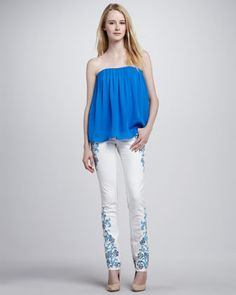 Scarlett Gathered Strapless Top & Embroidered Skinny Jeans by Alice + Olivia at Neiman Marcus.